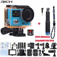 Action Camera H3 Ultra HD 4K Wifi 1080P Double Screen H3R Remote control Waterproof Sport Camera+Aluminum Extendable Pole Stick