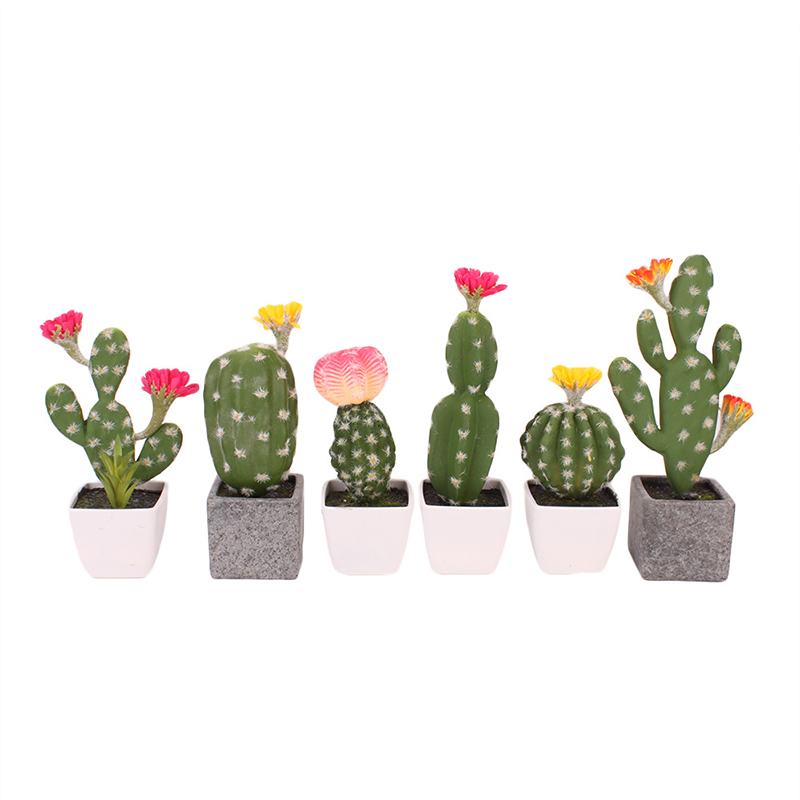 Artificial Plastic Cactus Succulents Prickly Pear Potted Plant no Pot Eco Friendly Simulation Home Office Desktop Decorations-in Artificial Plants from Home & Garden
