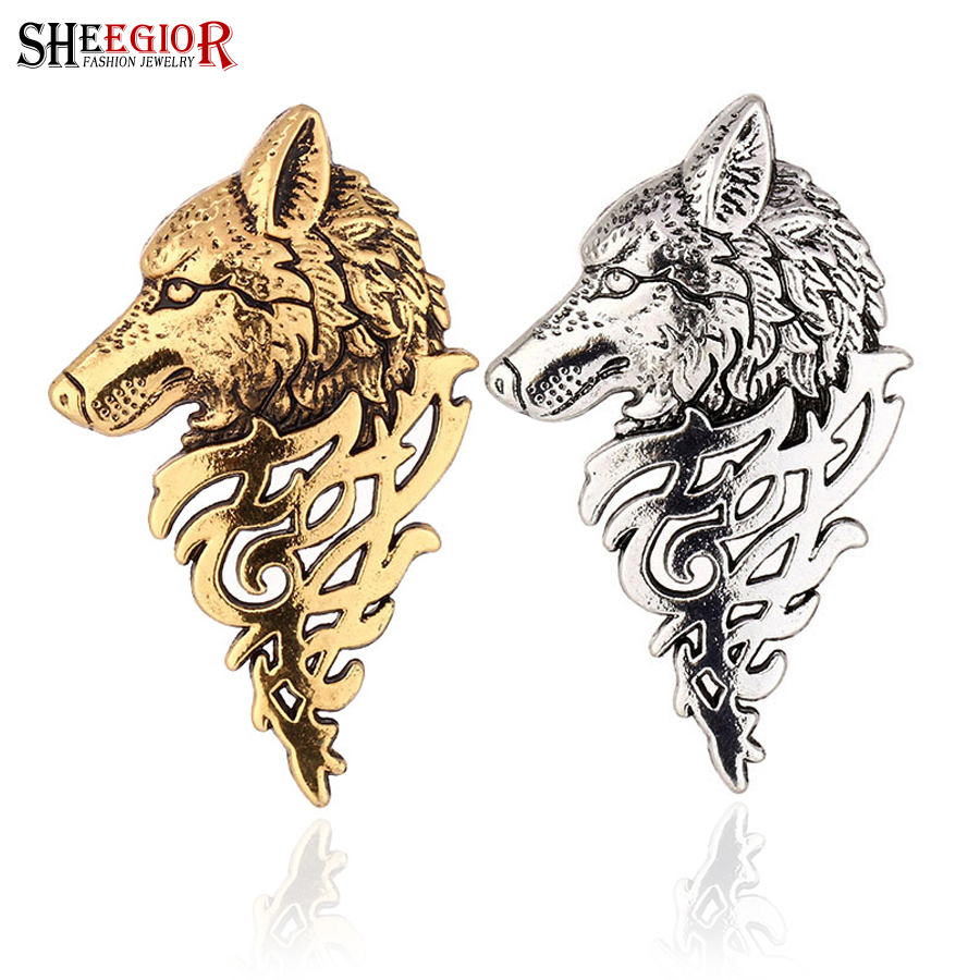 SHEEGIOR Vintage Wolf Head Collar Brooches for Women Men Badge Lovely Retro Bronze Silver Brooch Lapel Pins Fashion Jewelry Gift