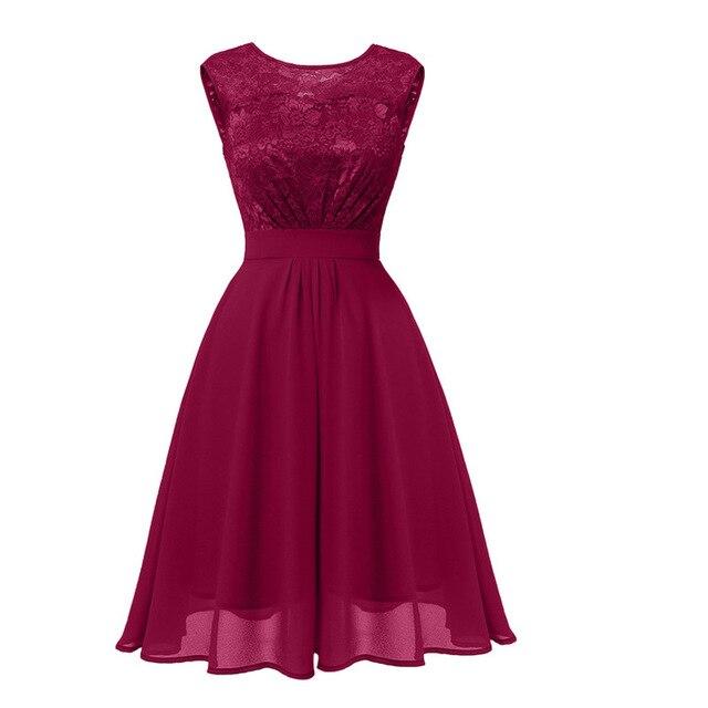 f6786b5395021 US $23.14 39% OFF|Women o Neck Lace Chiffon A Line Dress Girls Midi Summer  Dress Prom Graduation Wedding Cocktail Birthday Party Occasion Dresses-in  ...