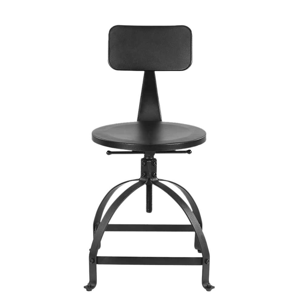 Astonishing Ikayaa Industrial Style Metal Bar Stool Adjustable Height Black Swivel Bar Stool With Backrest Bar Furniture Us Fr De Stock Machost Co Dining Chair Design Ideas Machostcouk