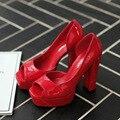 Новые Женщины Насосы Летние Сандалии Лакированной Кожи На Высоких Каблуках Обуви Открытым Носком Толстые Каблуке Побочные Пустые Женские Платформы Сандалии G896