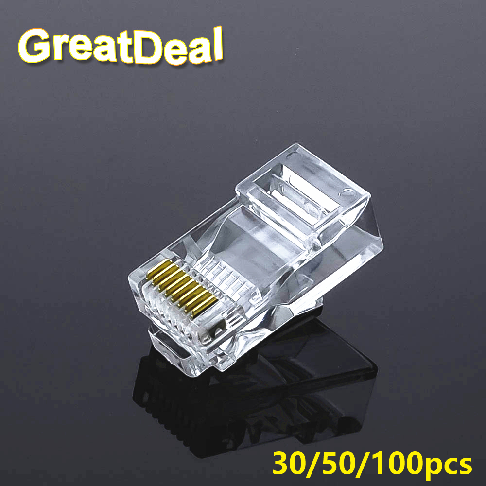 50/100pcs CAT5 CAT5E RJ45 Connector Cat6 Modular Ethernet Cable Plug Gold Plated Network RJ45 Connectors HY327 rj45 connector cat5 cat6 lan ethernet splitter adapter 8p8c network modular plug for pc laptop 10pcs aqjg