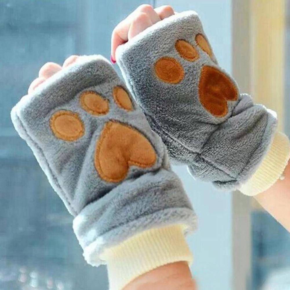 Competent Dames Winter Half Vinger Handschoenen Pluizige Kat Pluche Paw Claw Zachte Vrouwen Handschoenen Mitten Superieure Prestatie