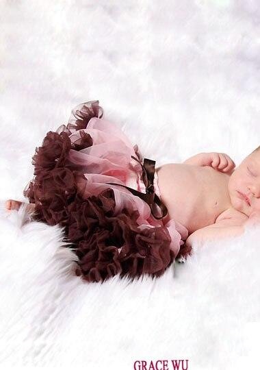 Детская балетная юбка, пачка младенческой юбки-пачки пачка recien nacido детская юбка с рюшами розовый шифон - Цвет: brown ruffled