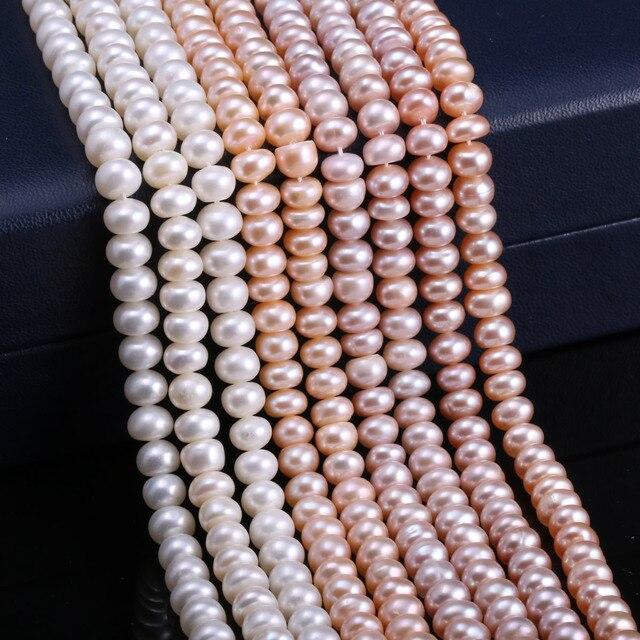 Бусины Из Натурального пресноводного жемчуга высокого качества 36 см пробивные свободные бусины для самостоятельного изготовления ювелирных изделий женское ожерелье браслет 5-6 мм