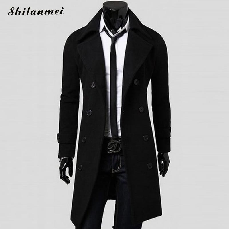 Mens   Trench   Coat 2018 New Fashion Men Long Coat Autumn Winter Double Breasted Windproof Male Slim   Trench   Coat Plus Size 3XL 2XL