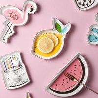 Маленький пончик Фламинго монстера тарелка для посуды декоративная Конфета фрукты фарфоровая тарелка для хранения ювелирных изделий лото...