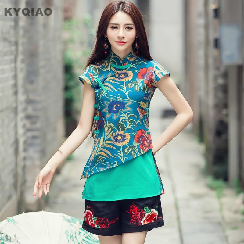 KYQIAO Ethnic Traditional Chinese Clothing 2019 Women Vintage Original Designer 2xl Green Red Print Patchwork Blouse Shirt Blusa