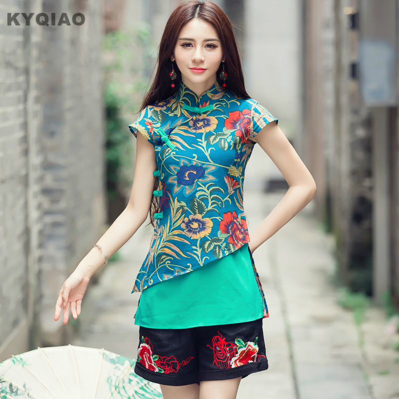 KYQIAO Ethnic traditional Chinese clothing 2019 women vintage original designer 2xl green red print patchwork   blouse     shirt   blusa