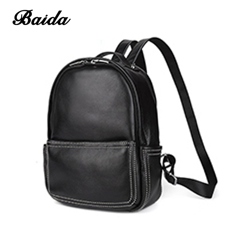 Baida Backpack Natural Real Leather Backpacks Genuine First Layer Cow Leather Top Layer Cowhide Women Backpack School Bags цена 2017