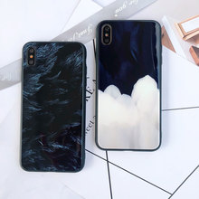 Hard Phone Case For iPhone X XS XR Xs Max 7 Plus 8 Feather Marble Glass Cover 6S 6 Plain Cases