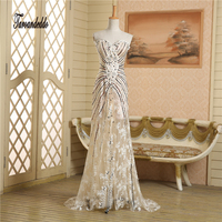 Strapless Champagne Lace Hand Beading Front Slit Hot Sale Prom Dresses Vestidos Fiesta Cortos Evening Gowns