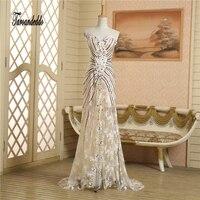 Strapless Lace Champagne Mão Beading Frente Slit Vestidos Hot Sale Prom vestidos vestidos de Noite Vestidos de fiesta cortos