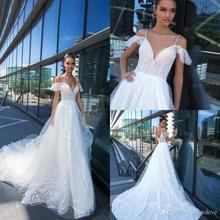 NCDIMS Crystal Design Backless Sweep Train Wedding Dress