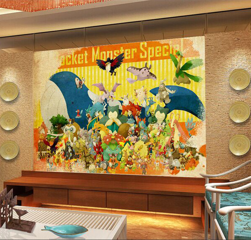 Pokemon Wallpaper 3D Wall Mural Kids Bedroom Japanese anime ...