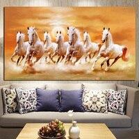 Tamanho grande HD Impressão Artística Animais Sete Correndo Cavalo Branco Pintura A óleo sobre Tela Moderna Pintura de Parede Para Sala de estar Cuadros