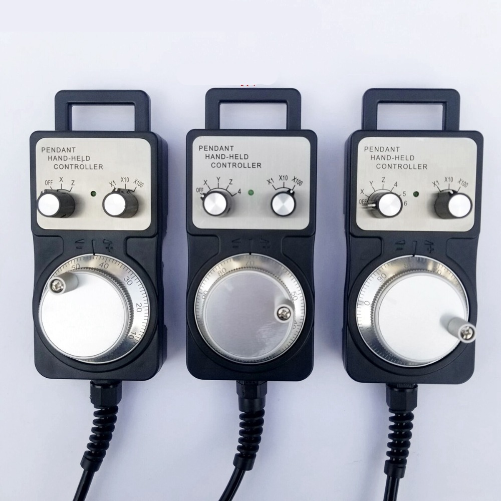 4 6 Axis MPG Universal Pendant Handwheel manual pulse generator 5V 12V 24V with Emergency Stop for cnc router machine