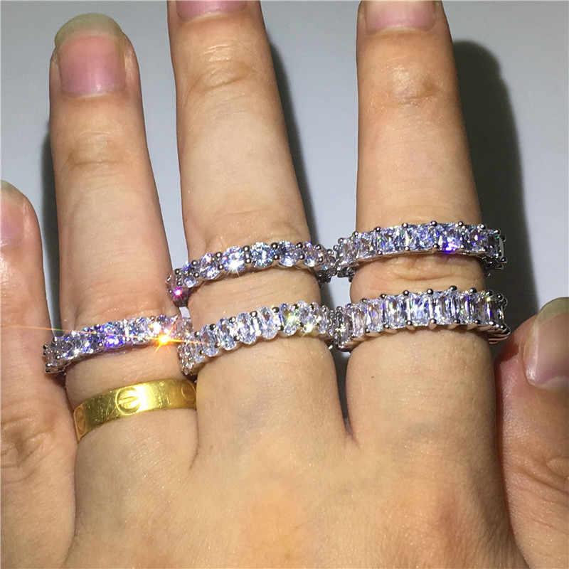 Fatti a mano Eternity Promessa anello In argento Sterling 925 AAAA cz di Fidanzamento Wedding Band Anelli per le donne Degli Uomini di Barretta Dei Monili Del Partito