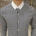 2017 Autumn Men's Shirt Hit the color collar lapel long-sleeved cotton shirt Youth Slim Business Casual Shirt Black Blue CS305