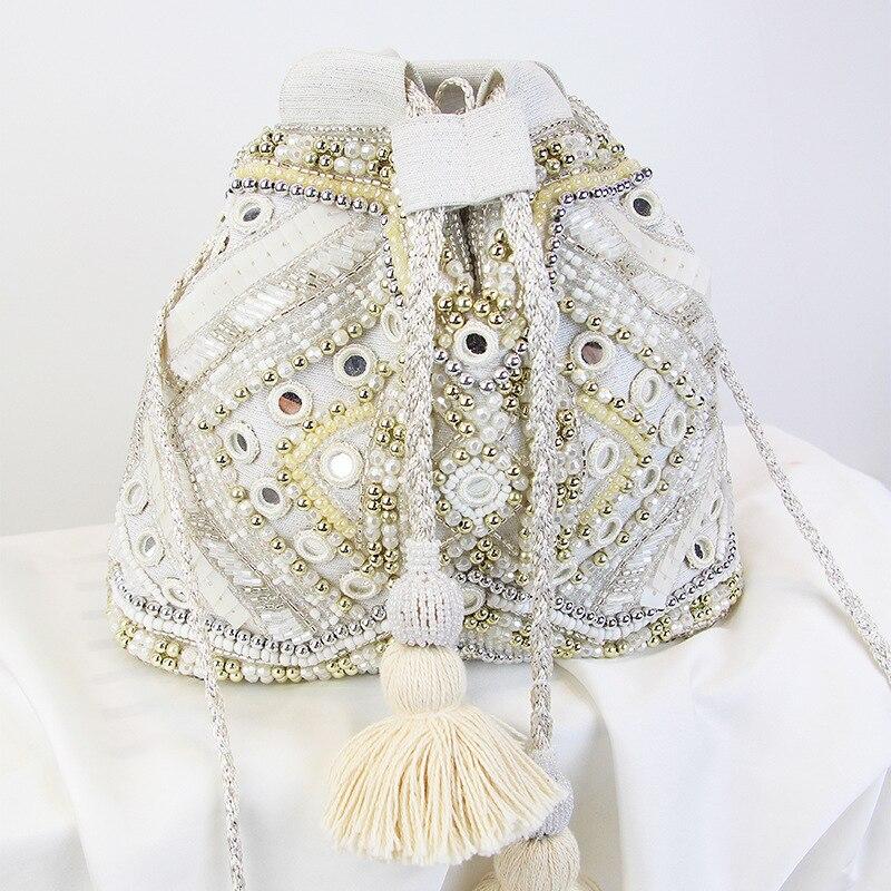 Mode gland 2019 nouveau bord de mer vacances été grand sac seau doux perles sac à bandoulière pour les femmes