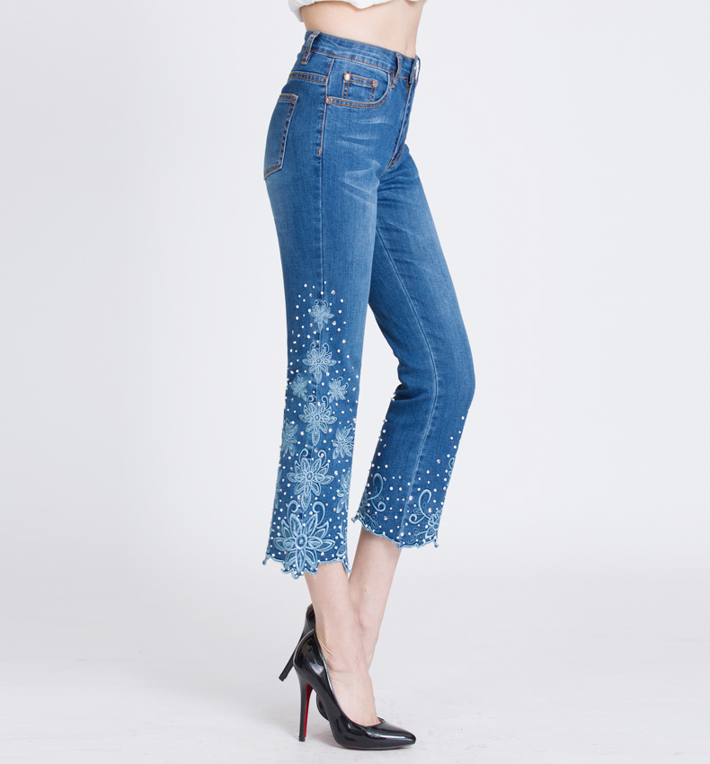KSTUN Embroidered Denim Jeans Women Seuuined Beaded Ruffles Flared Pants Bell Bottoms Blue Stretch Summer Cropped Trousers Large 18