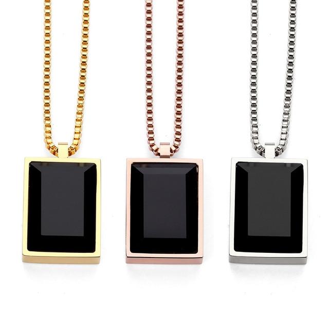 Hip Hop Rose Gold Black Stone Necklaces Pendants Men Women Charm