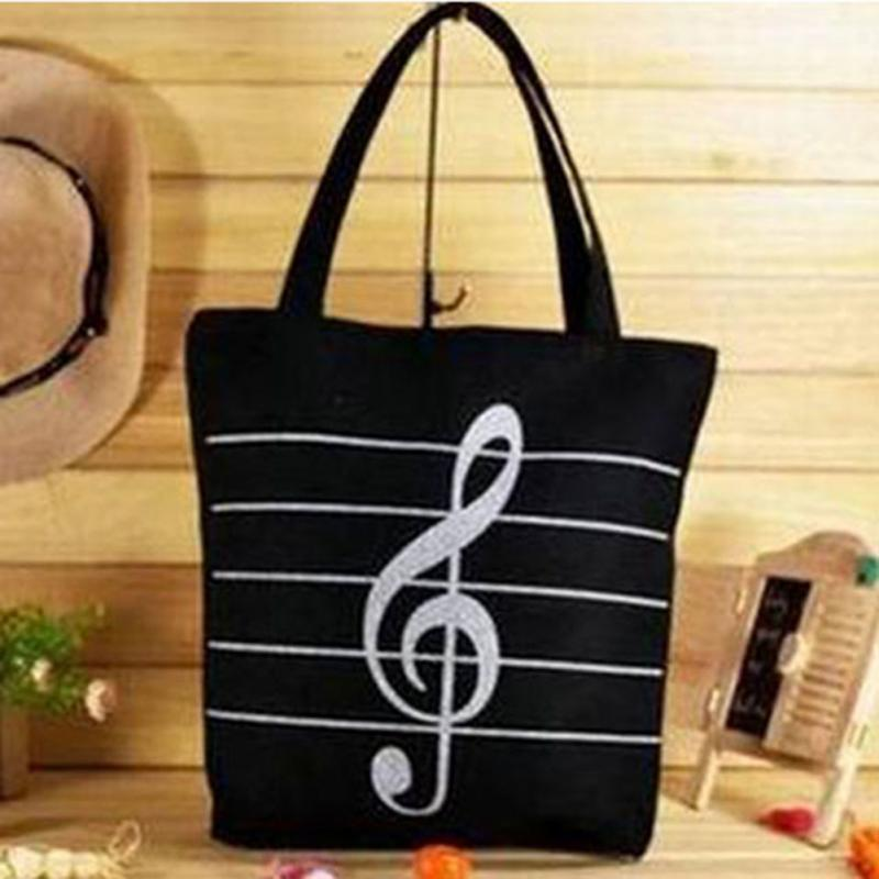 School Girls Canvas Handbag Women Single Shoulder Bag Musical Note Print Eco Shopping Bag Tote Portable Bags 2 Color Fashion
