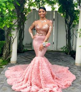 2019 Pink Long Sleeves Black Girls Prom Dress Mermaid Formal Pageant Holidays Wear Graduation Evening Party Gown Plus Size(China)