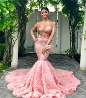 2019 Pink Long Sleeves Black Girls Prom Dress Mermaid Formal Pageant Holidays Wear Graduation Evening Party Gown Plus Size