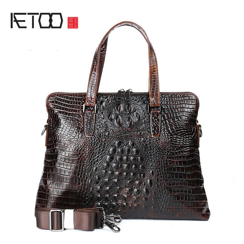 AETOO New men s business handbag computer bag crocodile pattern leather handbag fashion leather cowhide shoulder