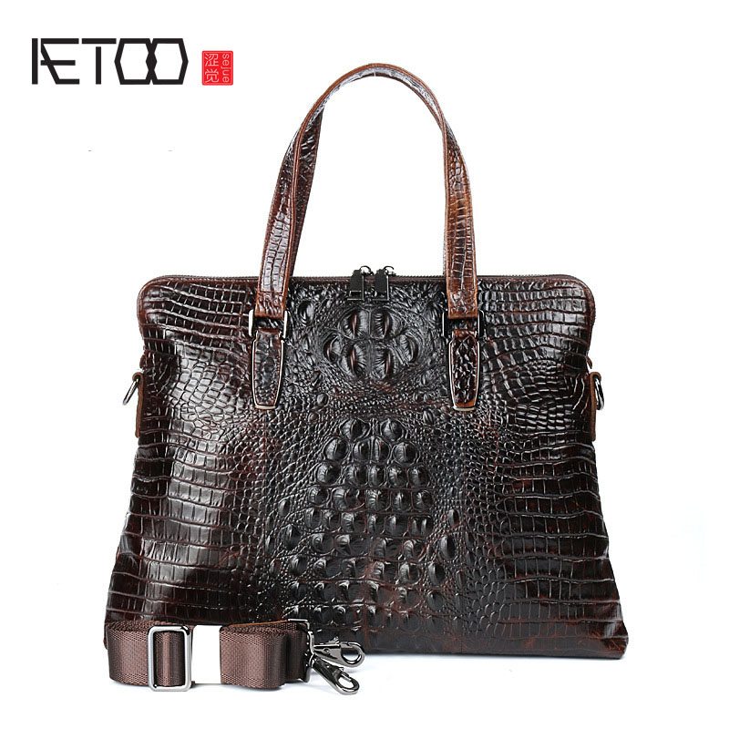 AETOO New men's business handbag computer bag crocodile pattern leather handbag fashion leather cowhide shoulder Messenger bag виски джек дениэл 0 5л купить