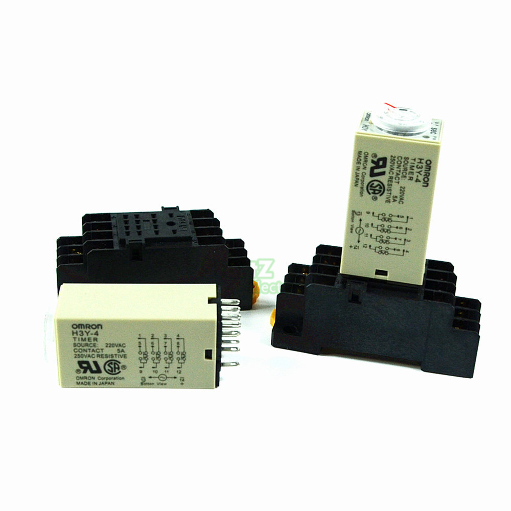 H3Y-4 AC 220V  Delay Timer Time Relay 0 - 5 Sec with Base zys48 s dh48s s ac 220v repeat cycle dpdt time delay relay timer counter with socket base 220vac