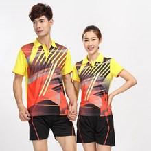 Новая мужская одежда для бадминтона, женская футболка с отворотом с коротким рукавом, спортивные майки для настольного тенниса+ шорты, Полиэстеровая быстросохнущая рубашка для пинг-понга