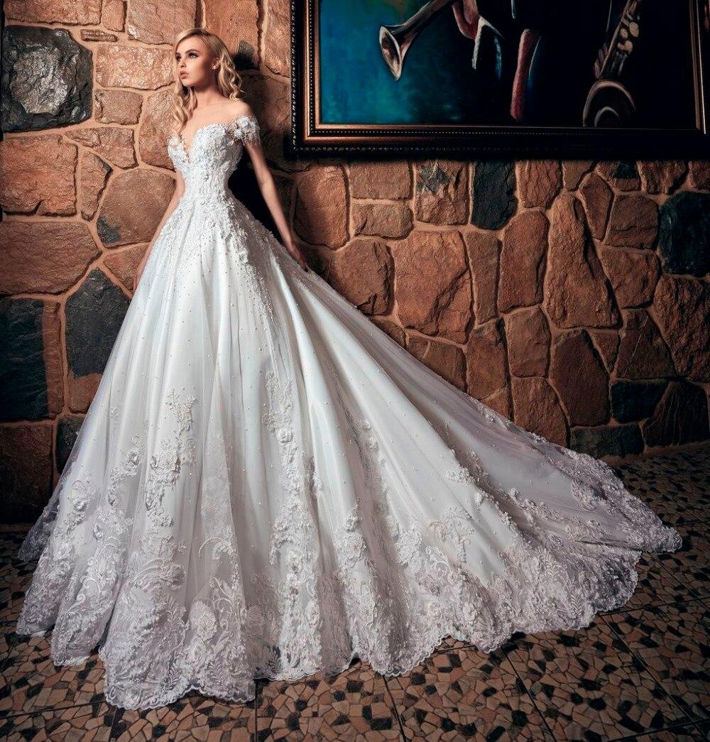 Princesa de Lujo Gelinlik Apliques de Encaje Vestidos de Novia 2017 robe de mari