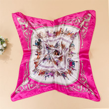 2016 New Silk Scarf Square Printed Bandana Female Tartan Echarpes Pure Silk Scarves Foulard Women FJ007