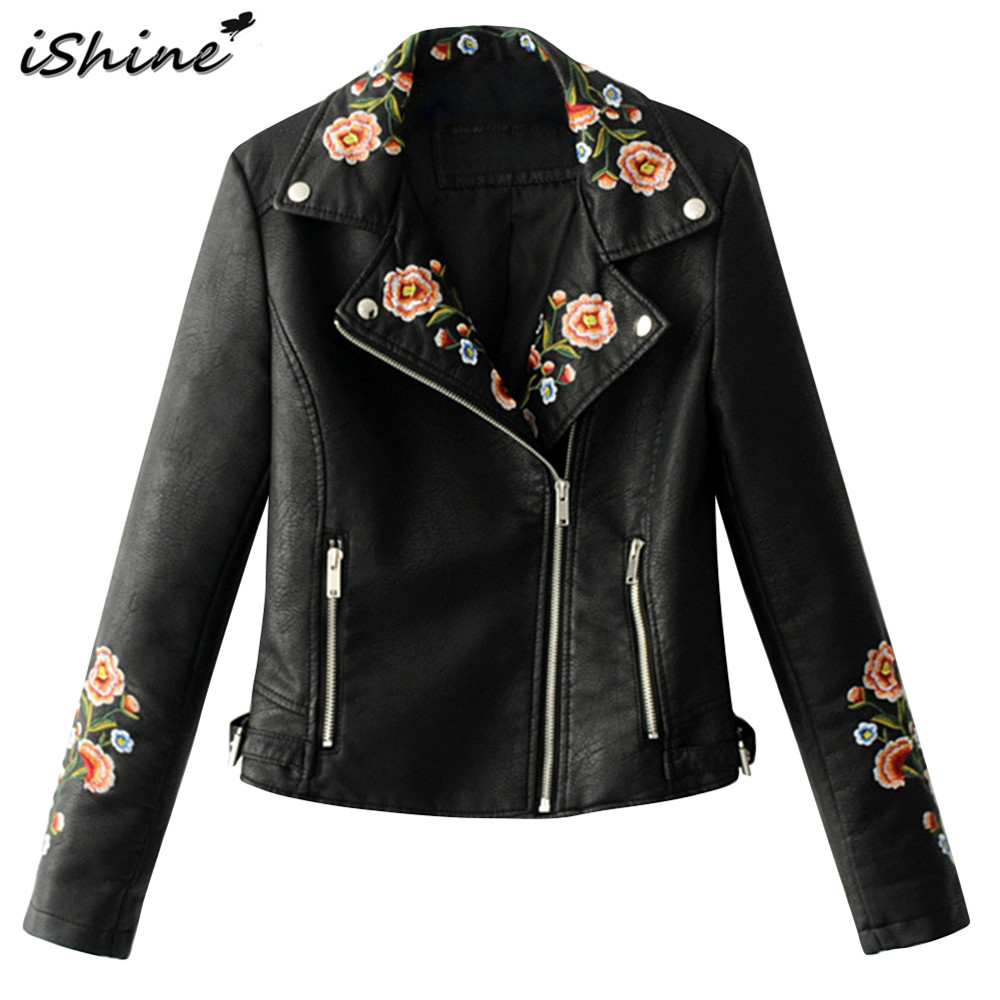 Ishine floral embroidery pu leather jacket women autumn