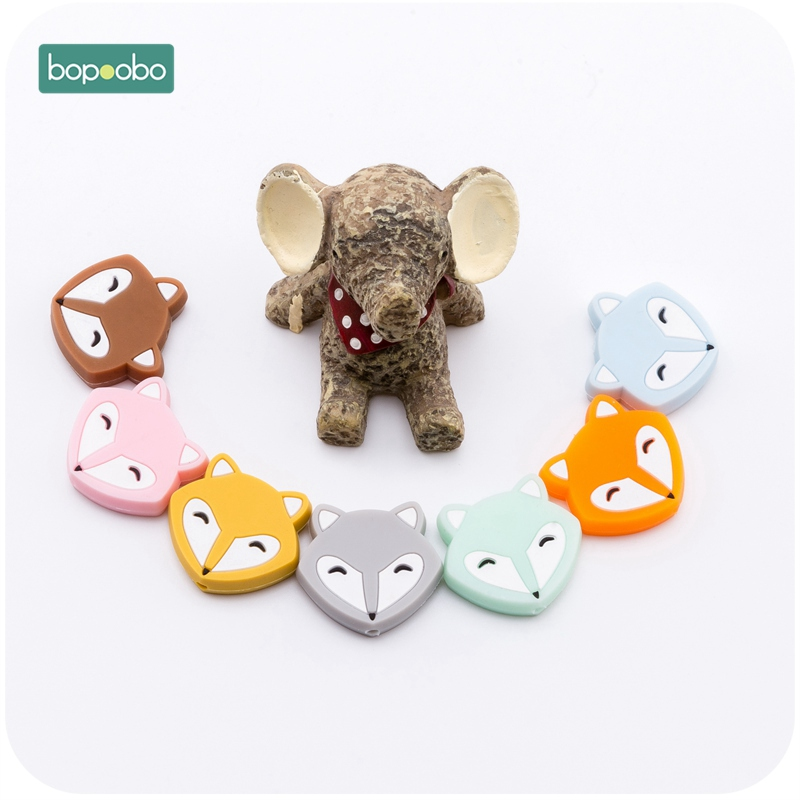 Bopoobo 3pc Silicone Mini Fox Silicone Teethers Food Grade Silicone Beads Baby Teether BPA Free DIY Teething Necklace Jewelry