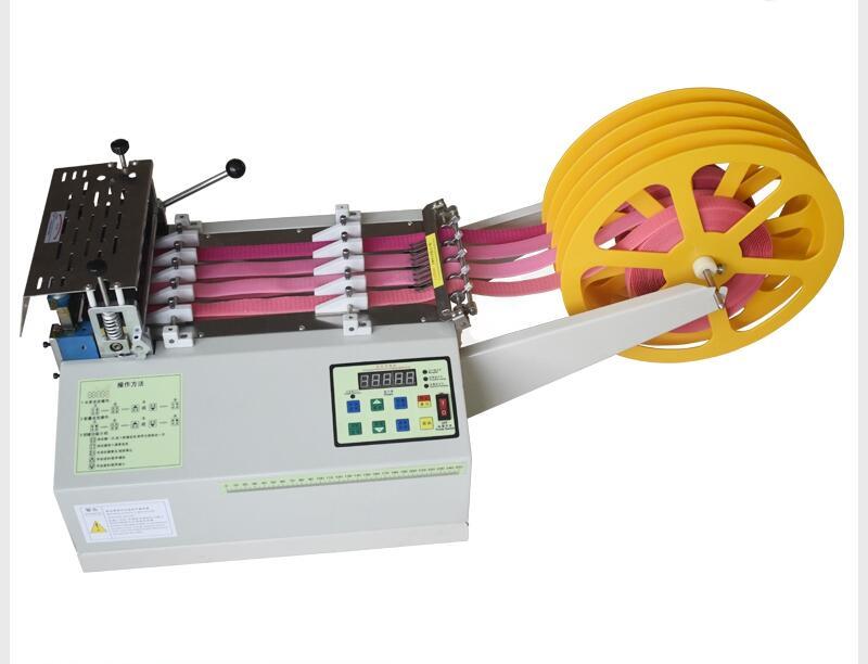 Machine de découpe de ceinture de tissu froid d'ordinateur 160C, coupe automatique de ceinture élastique de machine de sangle de tirette de bande adhésive magique