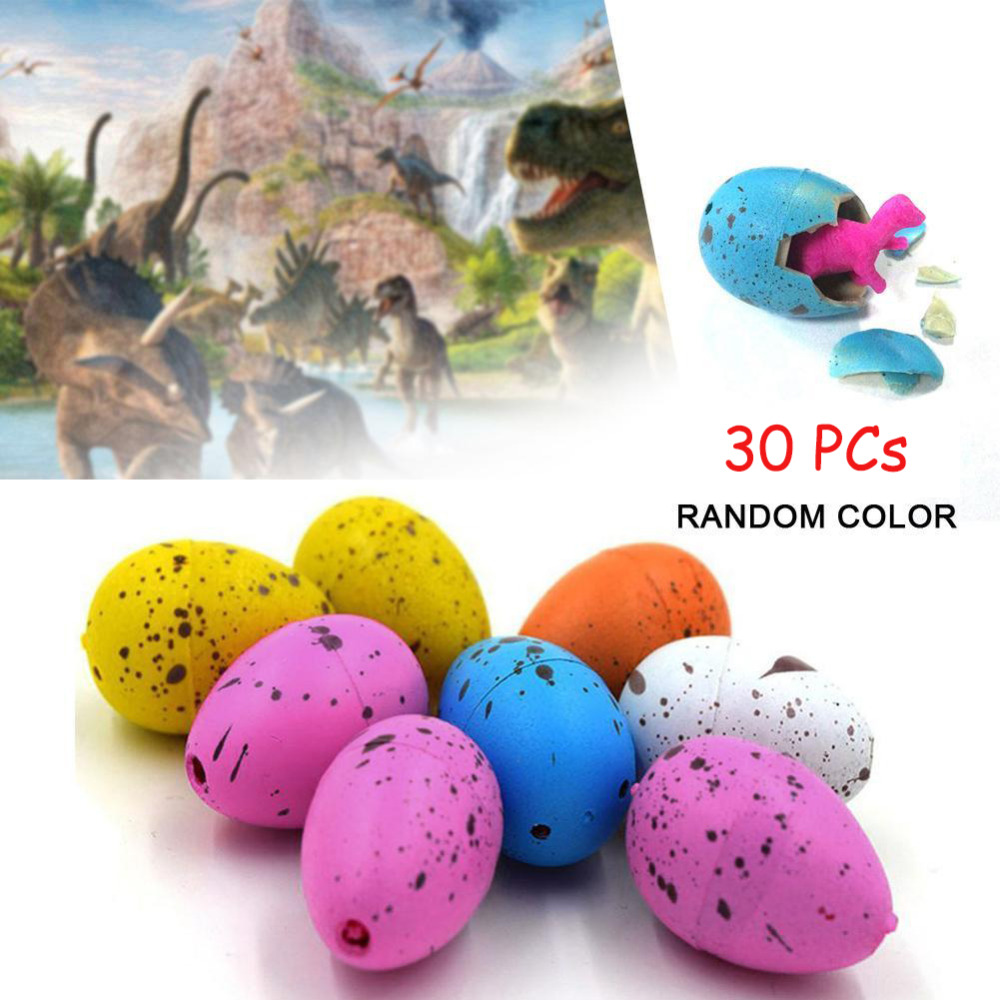 30pcs/lot Colorful Dinosaur Eggs Hatching Growing Dinosaur Baubles Add Water Grow Funny Toys Children Kid Gift Magic Egg