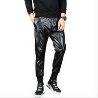 Men Faux PU Leather Joggers Hip Hop Dancing Pants Motorcycle Harem Sweat Pants Sweatpants For Men Trousers