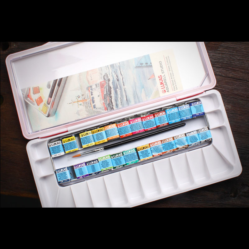 German Lucas Lukas 24 Color Solid Watercolor Paint Set Sketching Transparent Waterverf Watercolor Painting Package