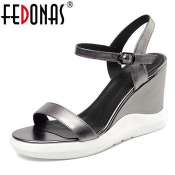 FEDONAS Women Fahsion Sexy Elegant Pumps Cow Leather Wedges Heels Summer Prom Party Night Club Shoes Woman Basic Buckle Sandals