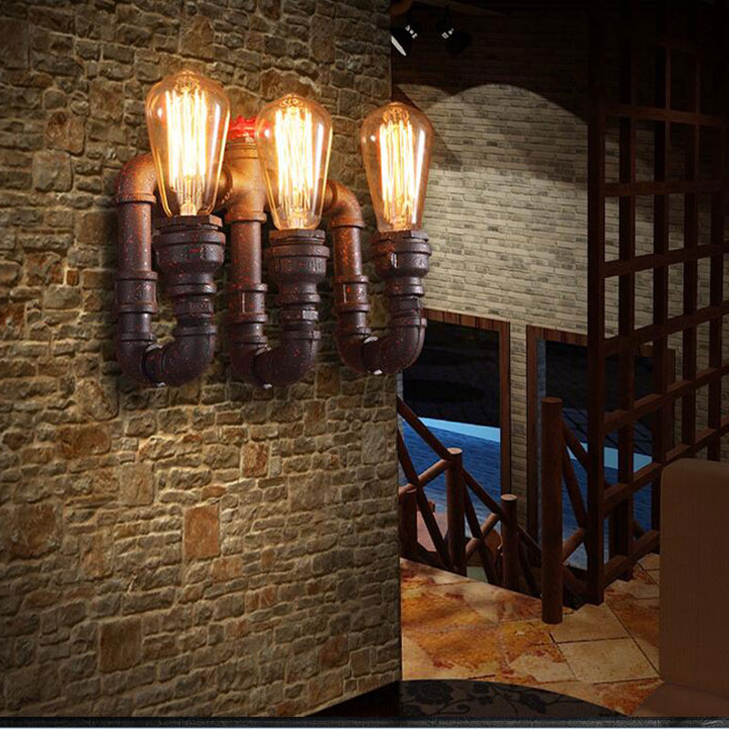 Water pipe wall lamp retro loft wall light personality bar cafe pub water pipe wall lamp retro loft wall light personality bar cafe pub shop stair dining room kitchen restaurant decoration light in led indoor wall lamps from aloadofball Gallery