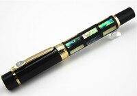 עם פגז ים אמיתי יוקרה עט נובע Jinhao 650 השחור 18kgp בינוני ציפורן חומה גדולה