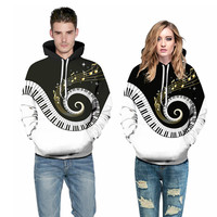 2019 new Fashion Hip Hop Men/Women's pullovers 3D Digital Print music notation hooded Long Sleeve Loose Polyester Hoodies