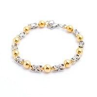 Fashion Beaded Bracelets Stainless Steel Gold Beads Link Chain Bracelets Pulseras Jewelry For Men Women