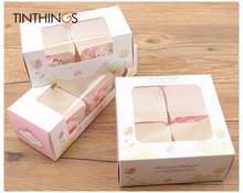 10pcs cupcake paper box with window Pink Gift cake Packaging For Wedding home party muffin packaging cookies supplies