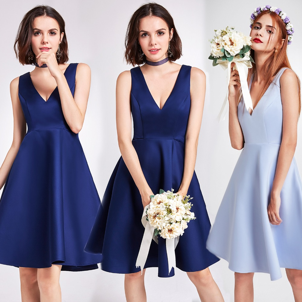 Bridesmaid     Dresses   Ever Pretty EP05894 Women Navy Blue Short V Neck A-Line Satin   Bridesmaid     Dress   Elegant Wedding Party   Dresses