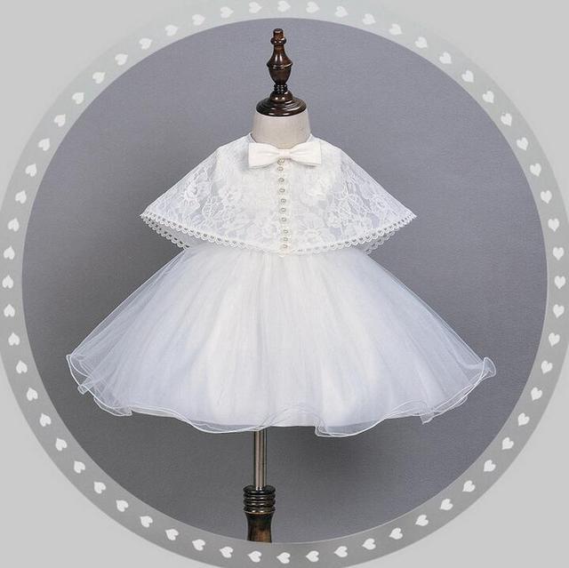 Marca Princesa de Perlas Vestido de Partido Del Bebé Ceremonias 1 Año de Cumpleaños Bautismo Vestidos de Novia Con Encaje Vestido Shwal (2 Unids/set)
